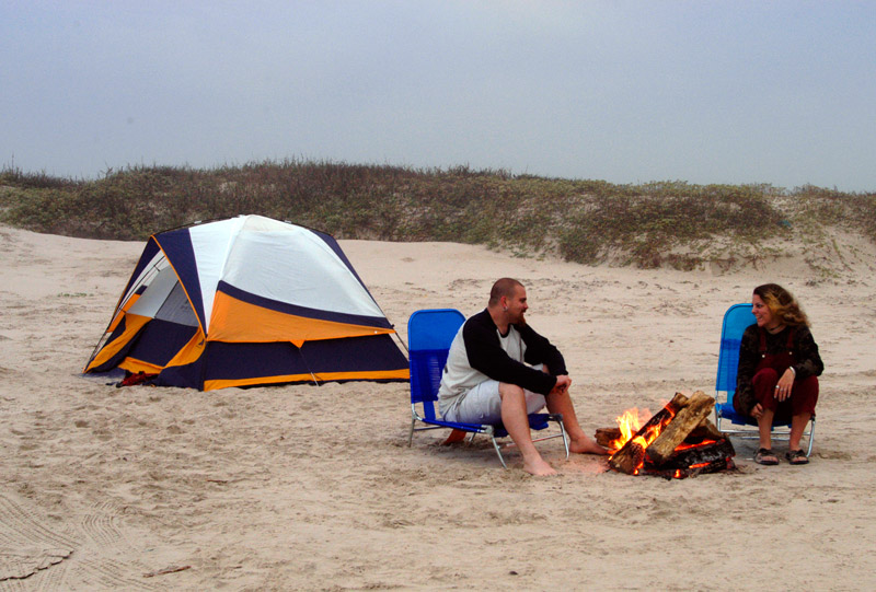 You can have a small beach campfire in this area.