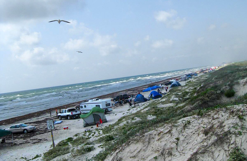 Closer view of the beach camping area.
