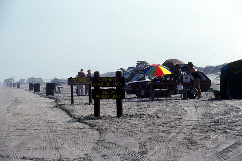 A vintage photograph of the beach camping area.