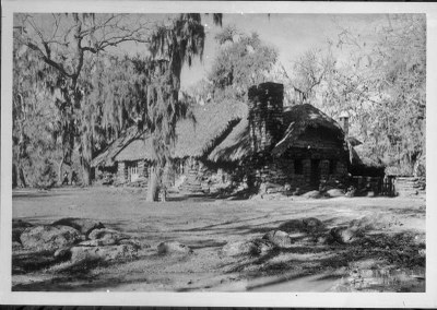 Palmetto's refectory building, with its original thatch roof.