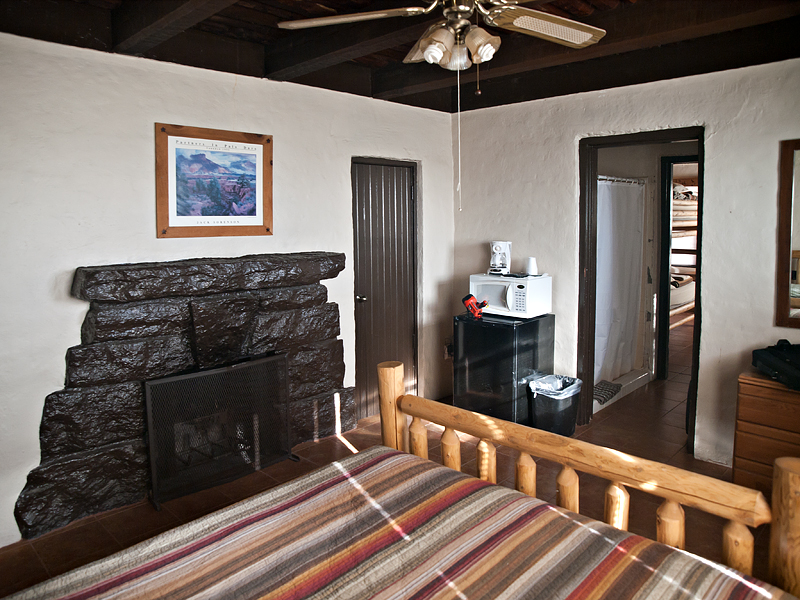 the main bedroom has a fireplace, microwave oven, and a mini-refrigerator. Photo by John Chandler.