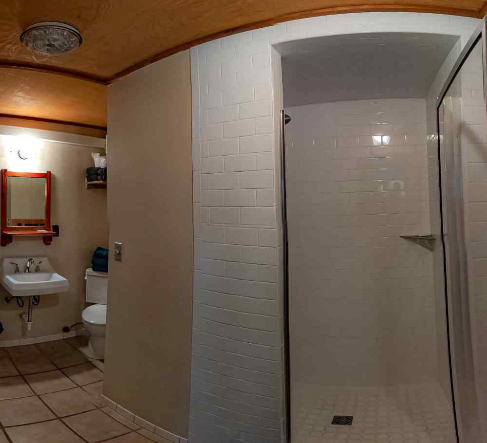The cabin's shower. Photo by John Chandler.