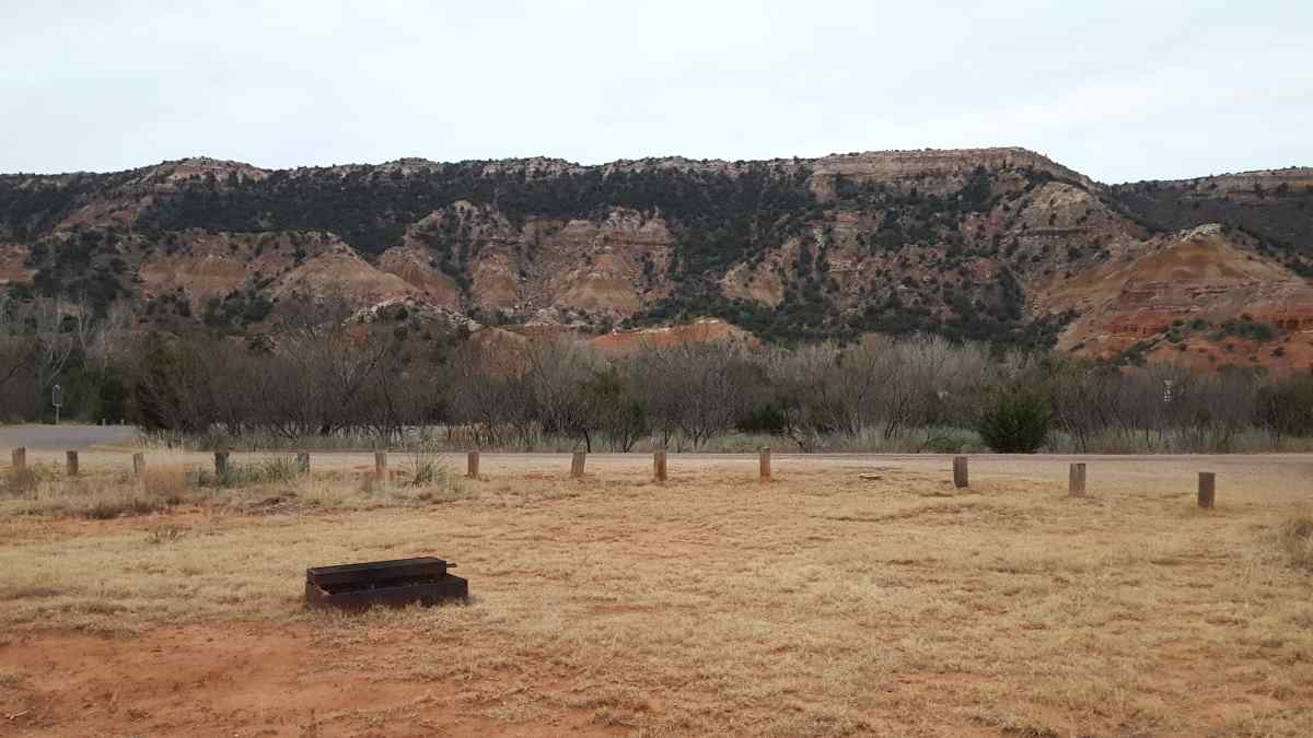 An fire ring with a grill in an open area at the Equestrian Camp Area.