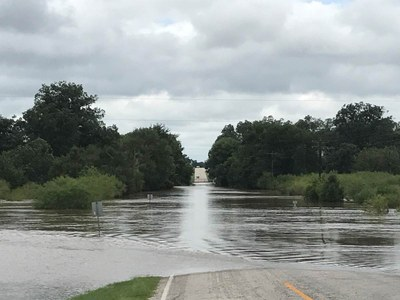 Water over the roadway