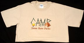 """t-shirt that says """"Camp Texas State Parks"""""""