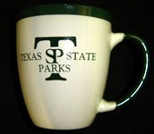 coffee cup with Texas State Parks written on it