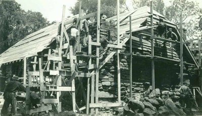 CCC workers building the concession building at Palmetto SP