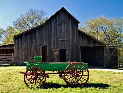 Green-painted wagon in front of old wooden barn at Sauer Beckmann Farm