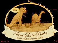 Dinosaur Valley ornament showing the world's fair dinosaur models