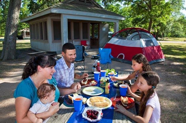 Camping interaction shot