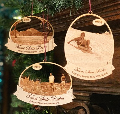 3 wooden ornaments