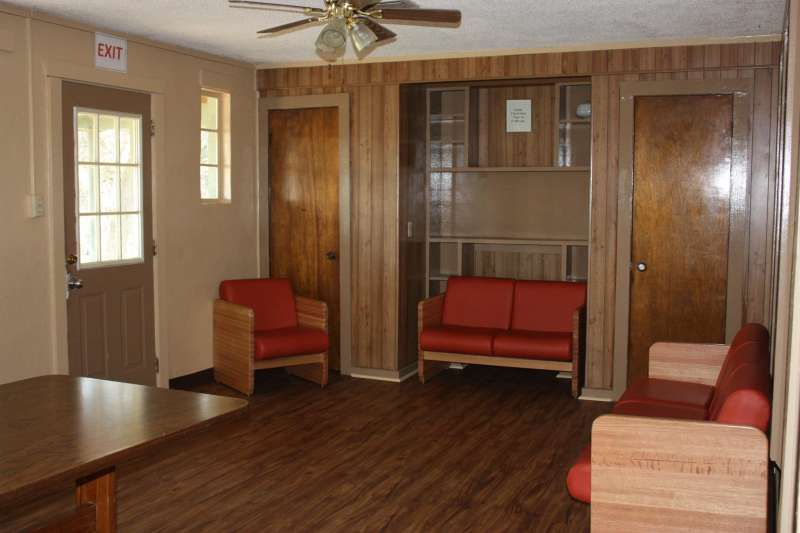 The Longhorn Lodge living area (8-person cabin).