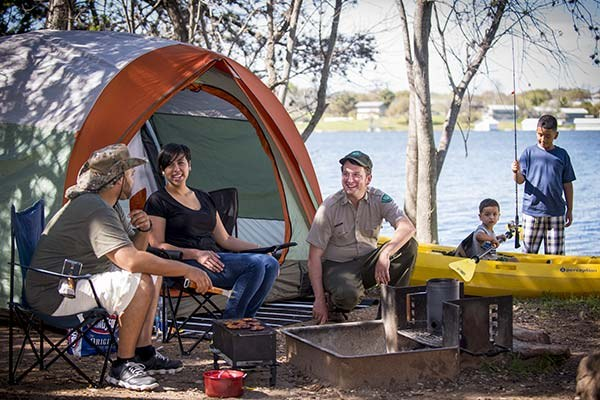 Group people camping at Inks Lake State Park with the Texas Outdoor Family.