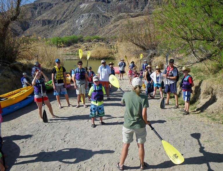 Group of campers learning to kayak at Big Bend Ranch State Park