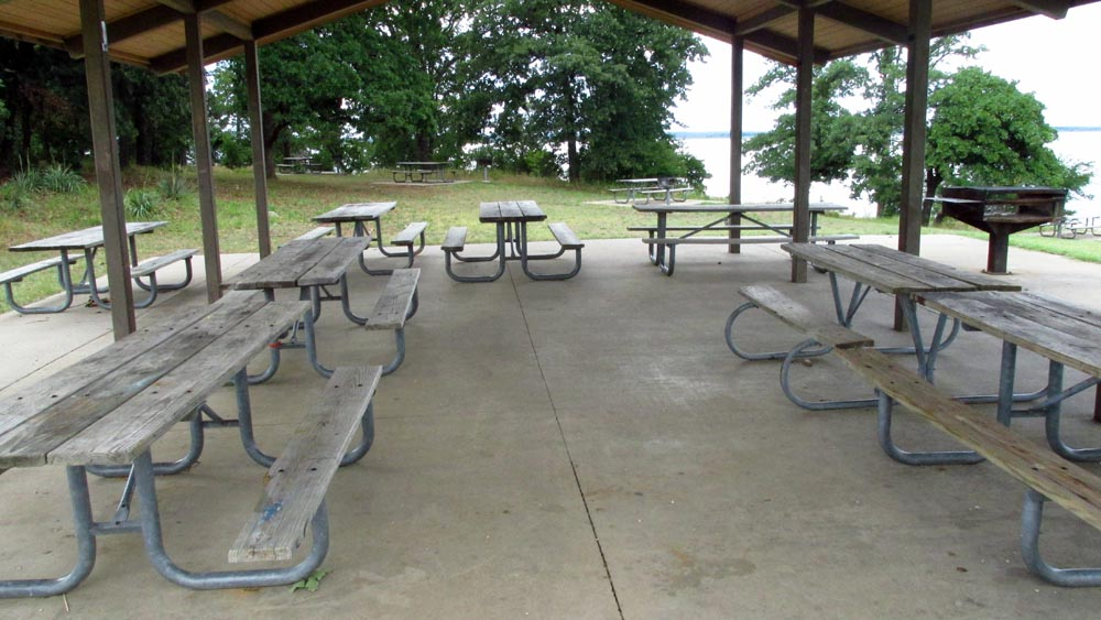 Group Picnic Pavilion 2 (Isle du Bois Unit) is next to a playground and a swimming area.