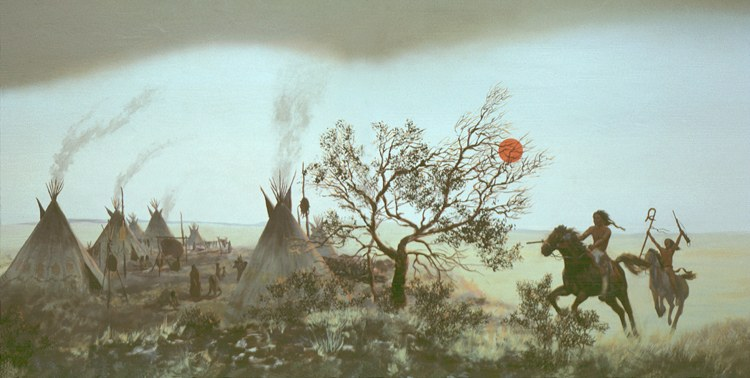 Painting of two Native-American men on horseback approach a group of tipis.