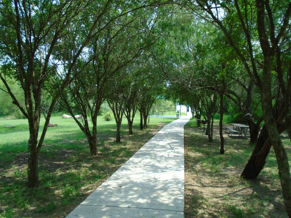 A paved wheelchair friendly trail leads to the Pavilion.