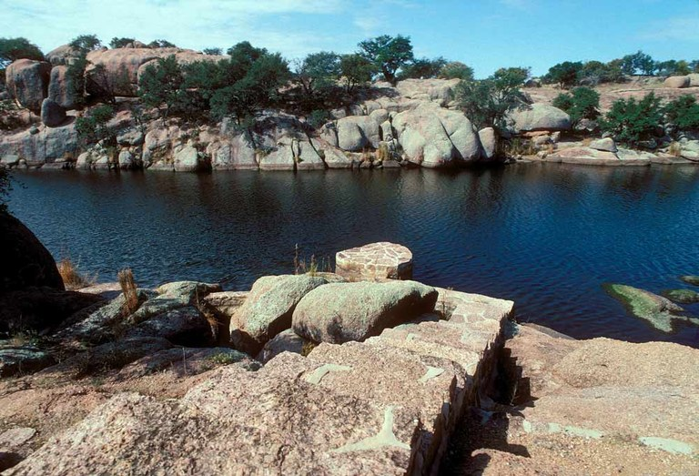 rocky shores of blue lake