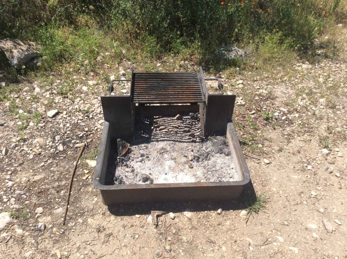 The fire ring with adjustable grill at Campsite 9.