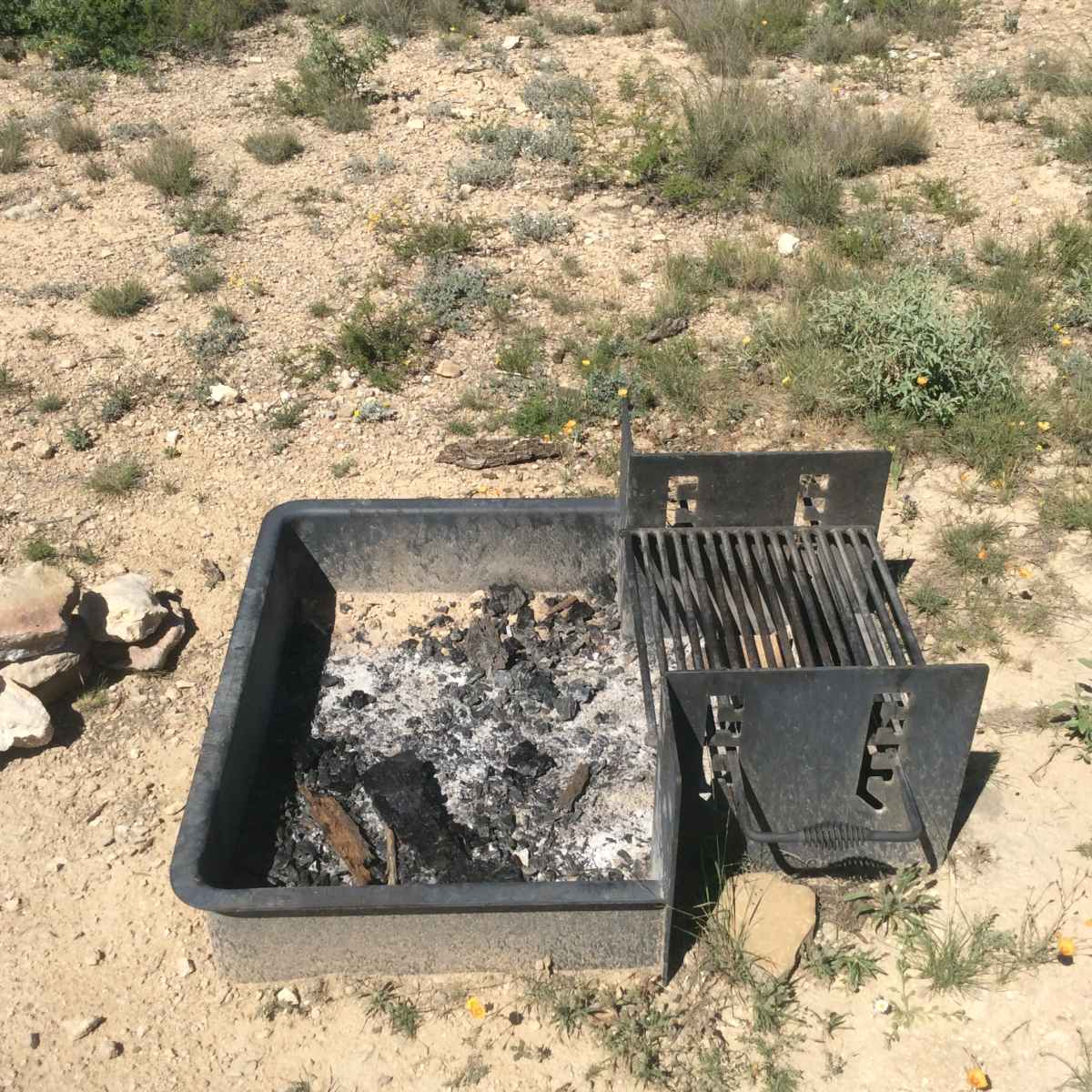 All campsites in the Roadrunner Primitive Camping Area have fire rings with adjustable grills.