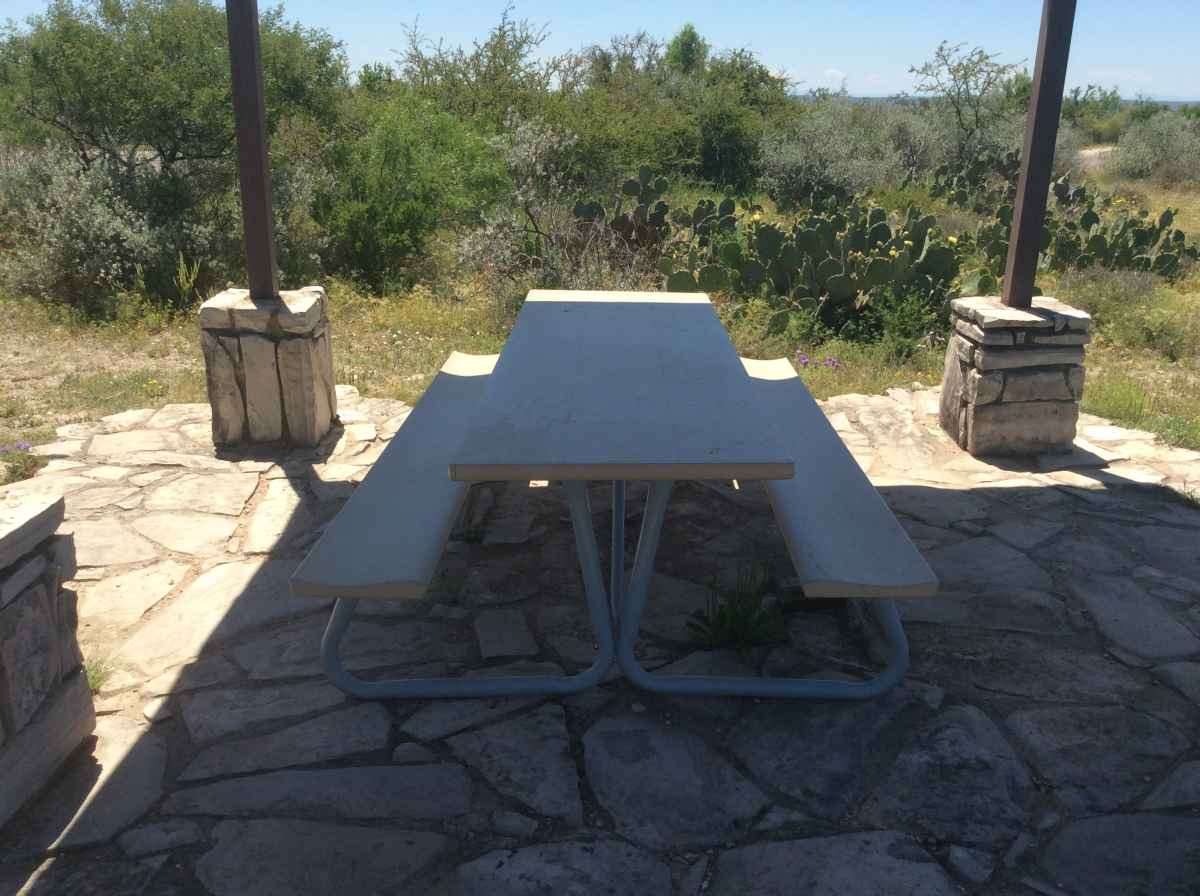 The picnic table at Campsite 2.