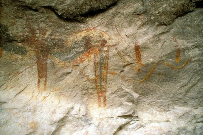 Ancient rock art inside the Fate Bell Shelter.