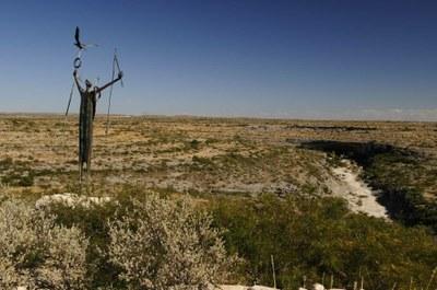 Shaman sculpture, overlooking the cabin