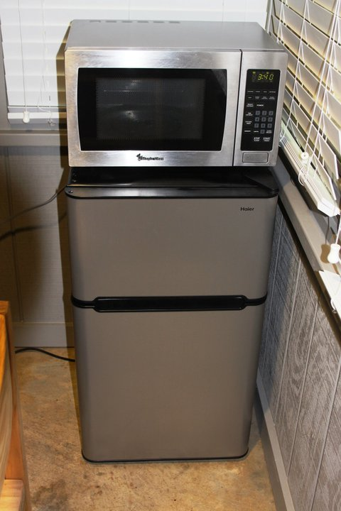 The refrigerator has a small freezer compartment so you can bring ice cream too.