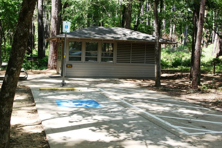 Outside Cabin #4, which is designed to accommodate most wheelchairs.