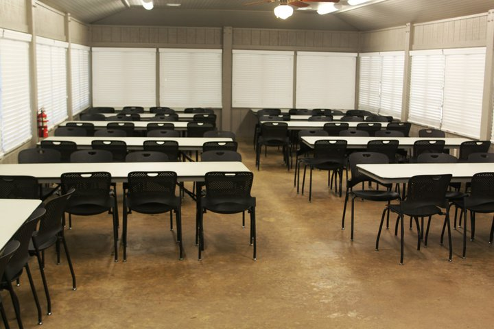 Seating for 75 people and blinds to darken the room for video or computer presentations.