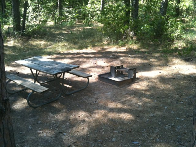 All of the shelters have a fire ring / grill, picnic table, and a lantern hook.