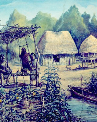Painting of a Caddo village