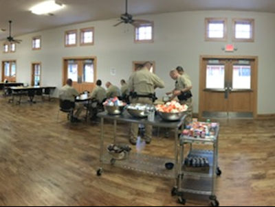Cadets dining inside dining hall