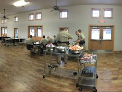 Cadets dining inside dining hall