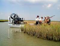 Game Wardens checking duck hunters in the marsh