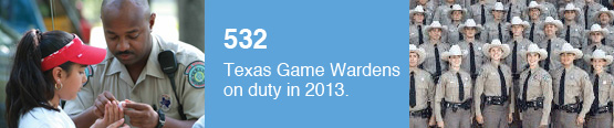There were 532 Texas Game Wardens on duty in 2013