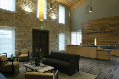 Inside administration building lobby area
