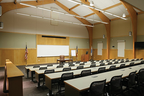 Classrom inside view with desks and chairs lined up