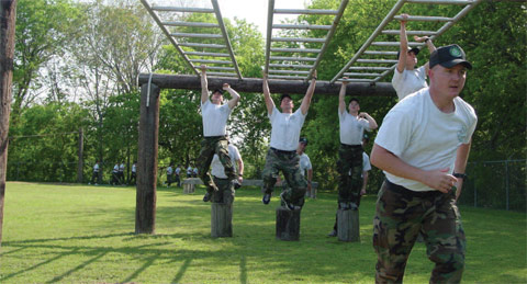 Cadets running on old obstacle course at Austin facility