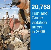 20,768 fish and game violation arrests occurred in 2008