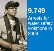 9,749 arrests were made for water safety violations in 2008